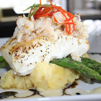 Grilled Halibut with Mashed Potatoes